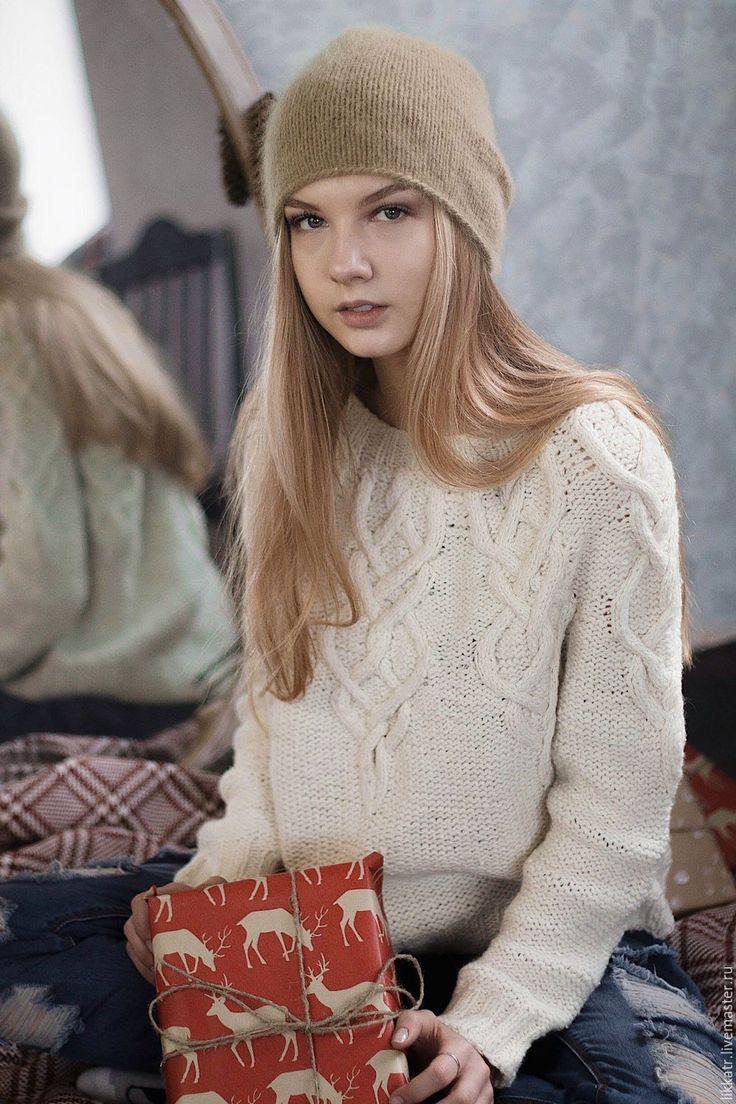 Купить Джемпер Maelstrom White - белый, однотонный, свитер, свитер твидовый, араны, свитер спицами