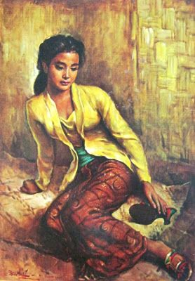 """Gadis Sunda"" by Basuki Abdullah, Medium: Oil on Canvas, Size: 90cm x 65cm, (Jawa Barat 1951)"