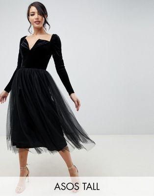 454ce2a94c Shop ASOS DESIGN Tall Velvet Tulle Midi Dress at ASOS. Discover fashion  online.