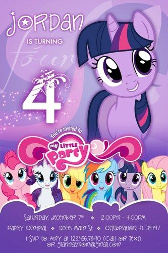 My little pony #6 twilight sparkle Birthday Party invitation - custom diy printable