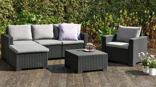 Gorgeous graphite colour, off-set by indulgent cool-grey coloured cushions (included). Comprised of a 3-seater sofa, hocker, table and single chair – you will have a classic and elegant space to entertain or relax all year round. All-weather, round-wicker design made from durable, UV-stabilised plastic resin with a 3 year guarantee – expertly crafted in The Netherlands by Allibert, part of the Keter Group. Easily assembled.