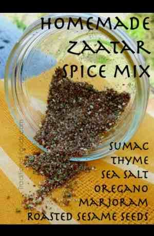 Homemade Zaatar Ingredients        1/4 cup sumac (find it here)        2 tablespoons thyme      1 tablespoon roasted sesame seeds      2 tablespoons marjoram      2 tablespoons oregano      1 teaspoon course sea salt