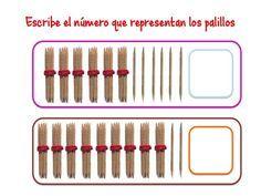 ABN Escribe el número que representan los palillos centenas 7