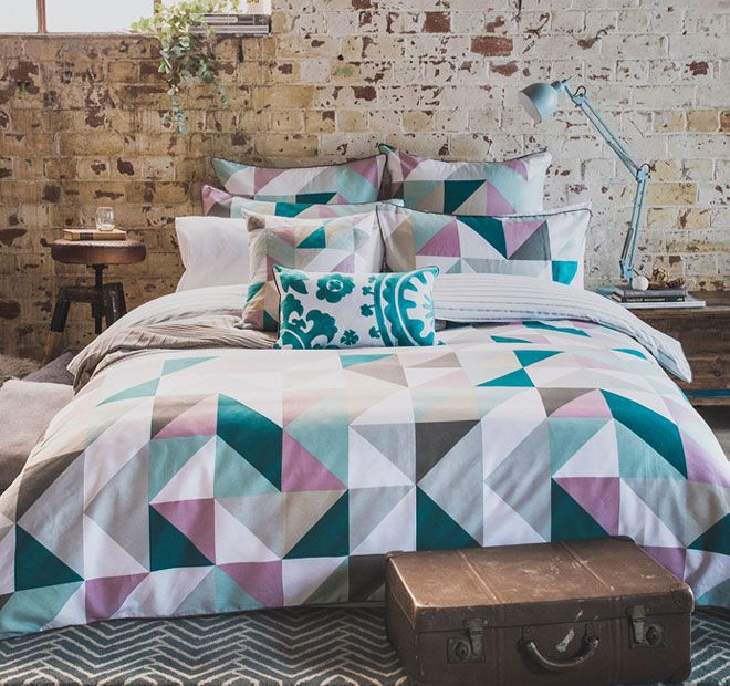 Lucia BAMBURY Features: Cotton sateen Printed Triangular design Sophisticated colour palette of pastels, grey and emerald green Charcoal piping around the edges Fully reversible to a thin grey stripe - #quiltcovers