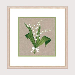 Brindille de bonheur - muguet à broder de façon traditionnelle, tissu imprimé. Réf. 1518 Création Cécile Vessière