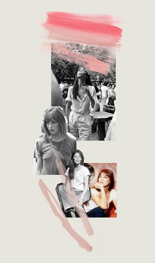 decadediary:    This weeks collage,  Jane Birkin  White T-shirt + Jeans  Blog Post: Where To Find Me « Illustration and Collage by Decade Diary