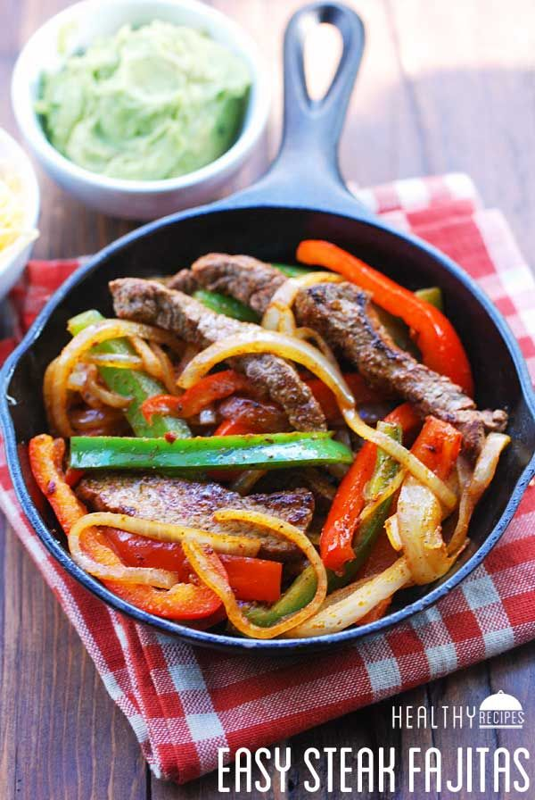 Steak Fajitas- Intensely flavorful and spicy but not too hot, these steak fajitas are ready fast.