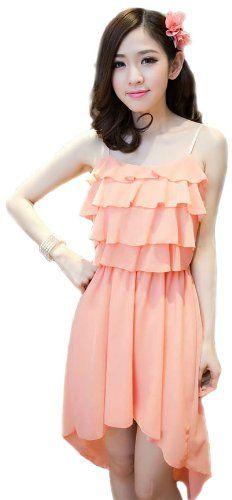 Amazon.co.jp: (アンフィニ) infini フィッシュテイル シフォン フリル パーティードレス ピンク パープル M L LL レディース: 服&ファッション小物通販