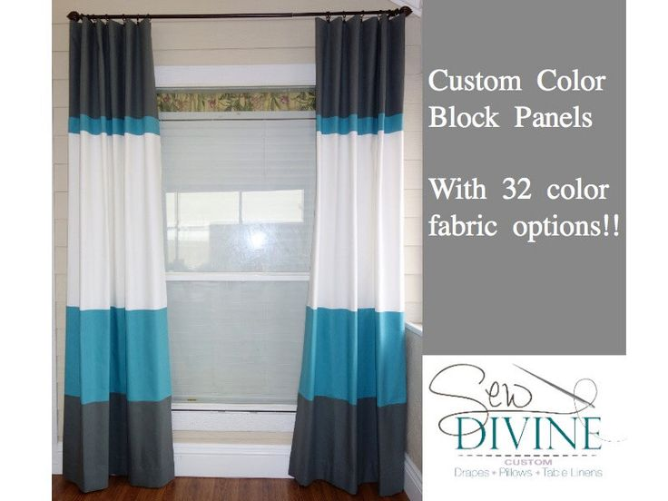 Color block curtain panels, Horizontal Stripe Curtains by SewDivinebyAmanda on Etsy https://www.etsy.com/listing/114204806/color-block-curtain-panels-horizontal