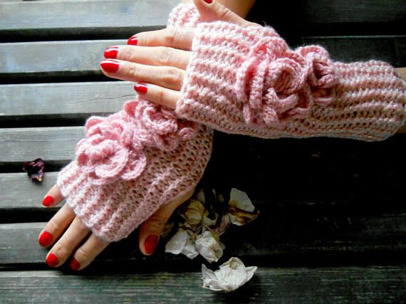Pink Knitted Gloves, women crochet Gloves, Women handmade Gloves, Arm Warmer, Winter Gloves, Fingerless Gloves, Crochet mittens, Hand Warmer    Pink shiny acrylic gloves.  Made from soft pink yarn.  Elegant style gloves.  You can wear this arm warmer with any clothes.  These handheld heaters are soft and comfortable.  It will add elegance to your hand.  The gift may be an alternative.  Maintenance Instruction  Hand wash in warm water, dry.  Black: Pink shimmer  Dimension: Height 12 /...