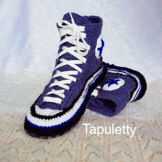 Knitted sneakers slippers Crochet sneakers converse Adult knitted shoes Knit home slippers Crochet a