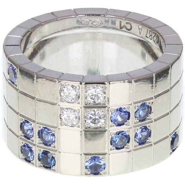 Cartier Diamond and Sapphire Lanieres Band Ring (23.015 BRL) ❤ liked on Polyvore featuring jewelry, rings, geometric rings, geometric jewelry, diamond jewellery, sapphire rings and wide band diamond rings