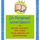 Help for students who need extra guidance in writing a multi-paragraph novel essay!  Three organizers to meet student needs and provide differentiation.  Includes a helpful sample essay plus a rubric for student/teacher use.  Intro-body-conclusion format. Setting, Character, Plot and Theme.  16 pgs, 5-8.  From Debbi Kapp $