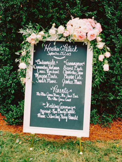 Chalkboard sign: http://www.stylemepretty.com/virginia-weddings/richmond-va/2014/06/11/coral-and-blush-plantation-wedding/   Photography: Katie Stoops - http://katiestoops.com/