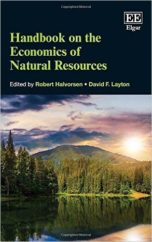 Handbook on the economics of natural resources (EBOOK) http://www.elgaronline.com/view/9780857937551.xml The topics discussed in the Handbook on the Economics of Natural Resources are essential for those looking to understand how best to use and conserve the resources that form the foundation for human well-being. The expert contributors to this Handbook provide insightful solutions to many of the problems that growing populations now face.