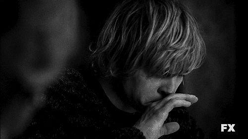 gif love tate langdon american horror story Evan Peters death cute Black and White suicide AHS like perfect follow alone tv show smile cry reblog bad sadness series murder house actor I WANT TO CRY asylum kit walker coven Kyle Spencer