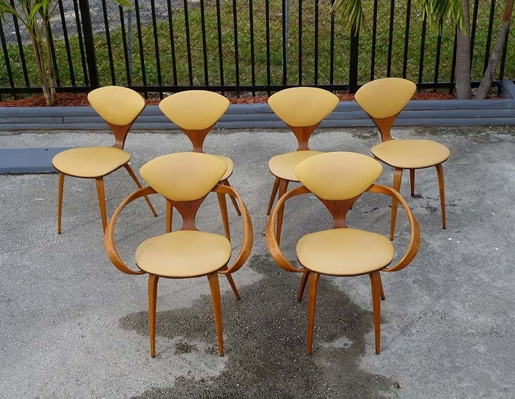 norman cherner chairs in walnut and birch for plycraft