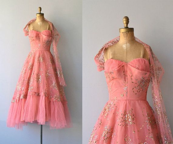 Vintage 1950s Milgrim coral party dress with metallic gold confetti, strapless crumb-catcher and boned bodice, fitted waist, layered tulle skirt, one