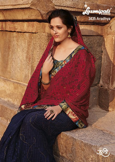 Drape this stylish half-half Brasso occasion wear saree… you can create your new style statement among your circle.