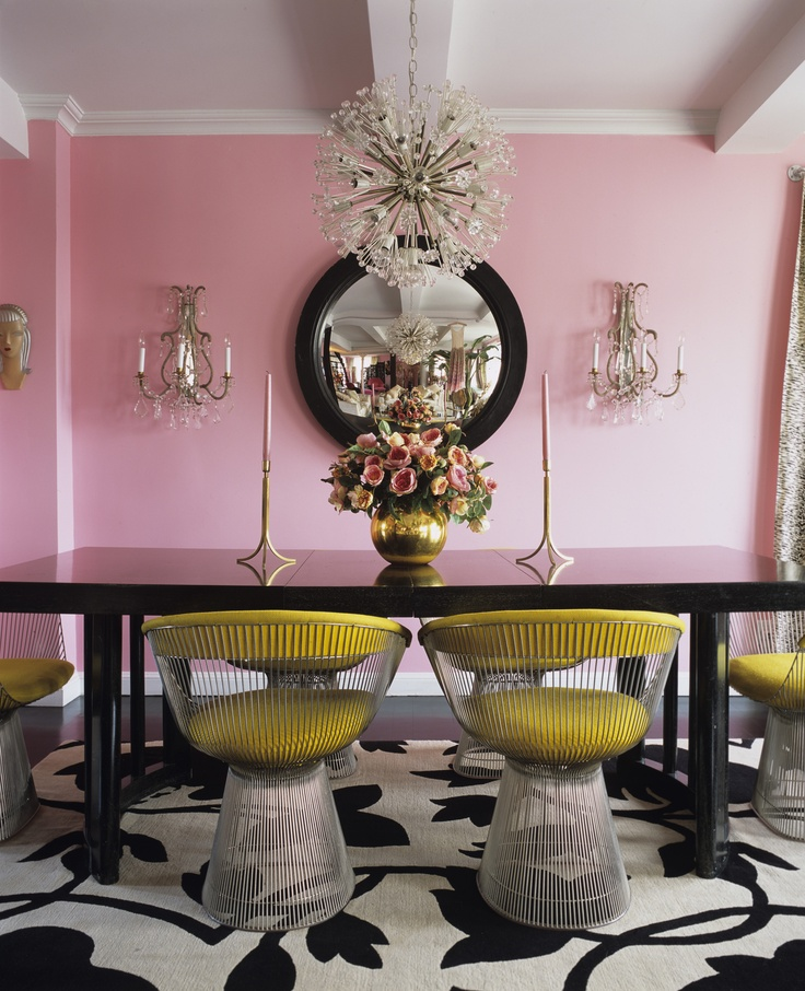 A Divine Dining Room In Yellow Platner Chairs Around Glossy Black Table The Glow Of Pretty Pink Walls Interior Design Betsey Johnson For Her New