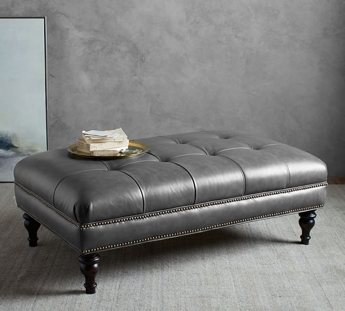 Martin Tufted Leather Ottoman Gray Leather Pottery Barn