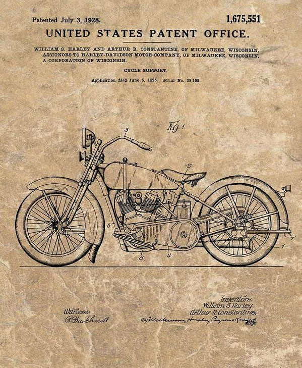 1928 Harley Davidson Motorcyle Patent Illustration Art Print By Dan Sproul All Prints Are Pr In 2020 Man Cave Ideas Harley Davidson Patent Art Prints Harley Davidson