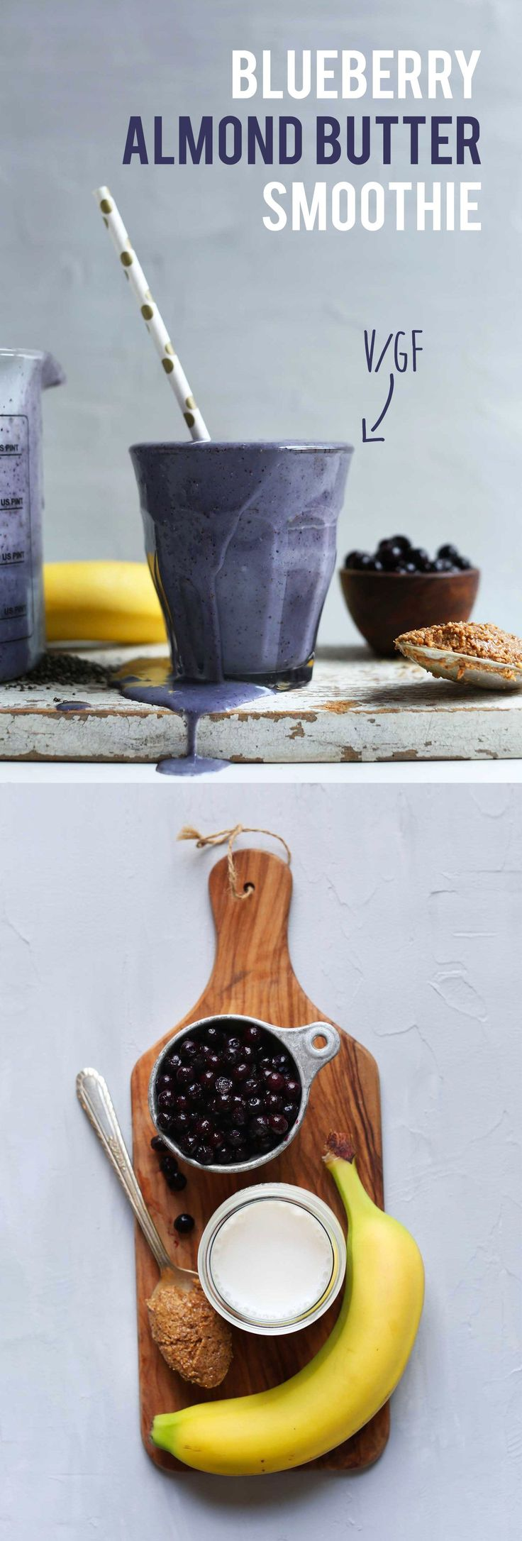 Insanely creamy and nutritional blueberry almond butter smoothie with almond milk, flax, and chia seed. The perfect healthy breakfast or afternoon snack.