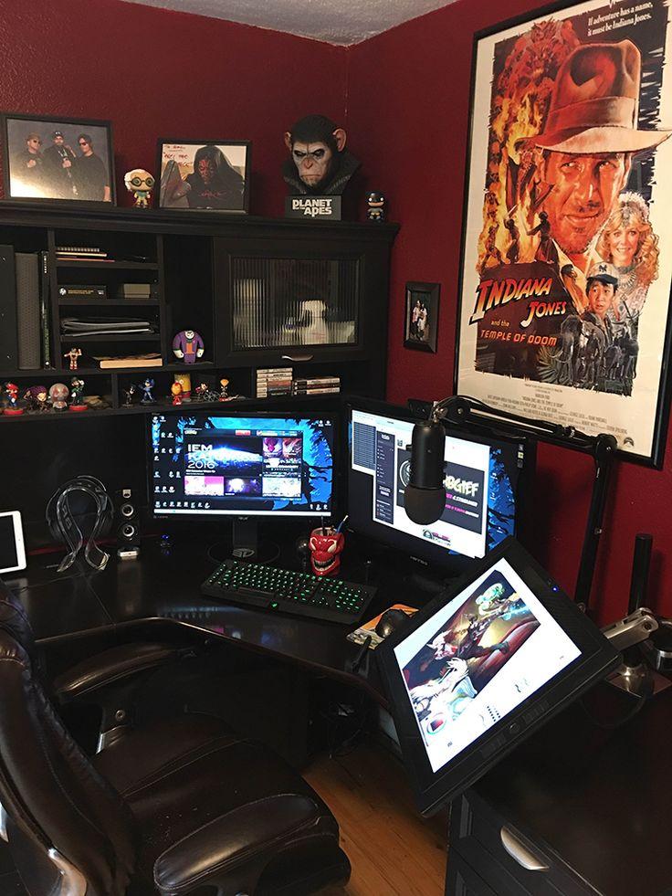 764 best decor workspaces images on pinterest gaming setup gaming desk and desk setup. Black Bedroom Furniture Sets. Home Design Ideas