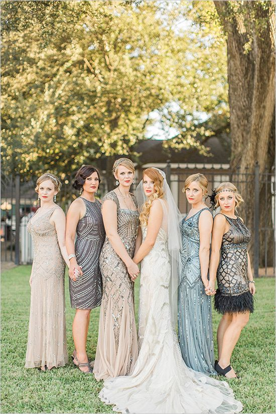 Great Gatsby, this is a glamorous wedding! Not only is it overflowing with glamorous details stunning bridesmaid dresses and bits and pieces from the past, but a lot of the day was created by the brid