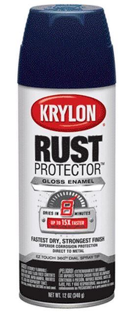 Krylon 69015 Rust Preventative Enamel Aerosol, Gloss Navy, 12 Oz.