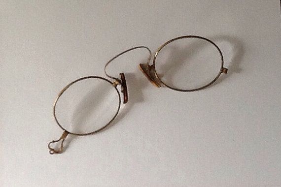 Pince Nez, Vintage Eye Wear and Leather Antique Glasses with Leather Case, Steampunk on Etsy, $48.00