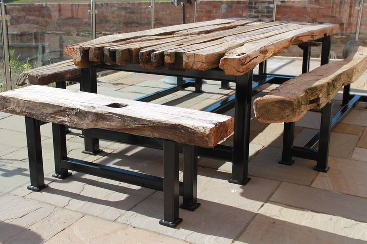 Steel and Oak wood wooden Garden Furniture, bespoke welding and fabrication  | eBay