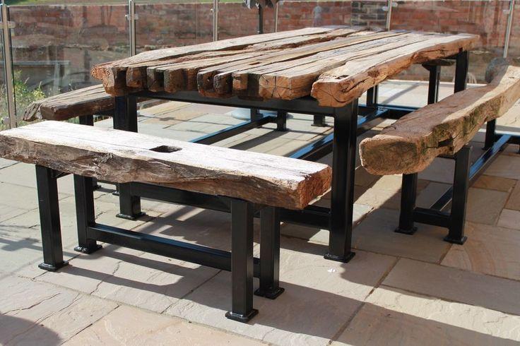 Steel and Oak wood wooden Garden Furniture, bespoke welding and fabrication  | eBay