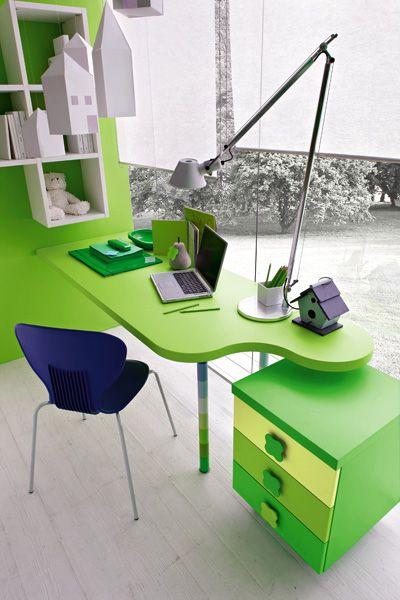 Modern Green Kids Bedroom By Stemik Living : Contemporary Green Kids Bedroom By Stemik Living With Big Window Curtain Wooden Table Black Chair Bookcase Lamp Notebook Storage And Hardwood Floor