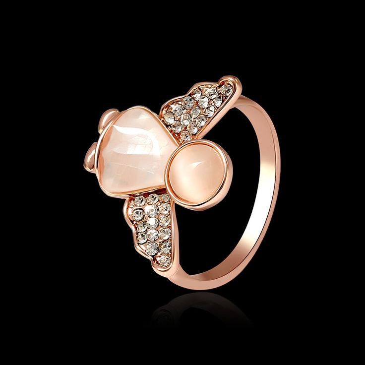 Sweet Angel Opal Ring Clothing Accessories Rose Gold Plated Anallergic Jewelry for Women at Banggood