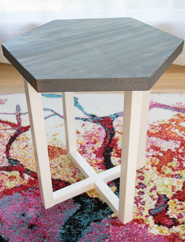 This hexagon side table is easy to make, but looks like something you'd get in a contemporary furniture store! Get the free plans at The Handyman's Daughter and make your own! | free woodworking plans | side table plans | hexagon side table | DIY side table