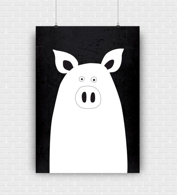 Modern and funny little pig illustration. Black and white printable art design. Decorative high quality poster for instant download.