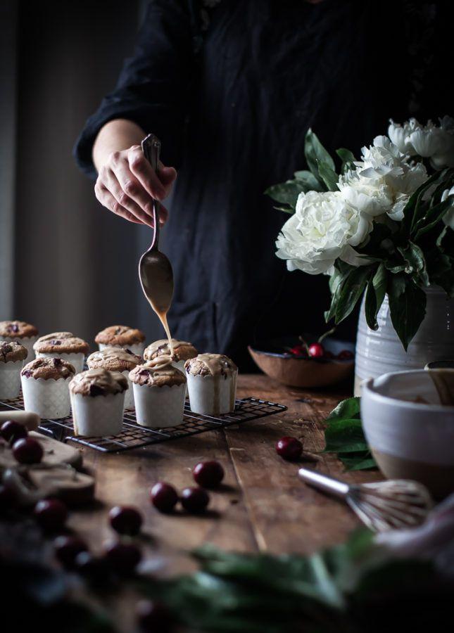 Cherry Oat Muffins Brown Butter Vanilla Bean Glaze - The Kitchen McCabe
