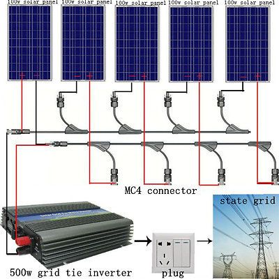 ECO 500W 5PCS 100W Poly Solar Panel System  500W 12-110V Grid Tie Inverter RV