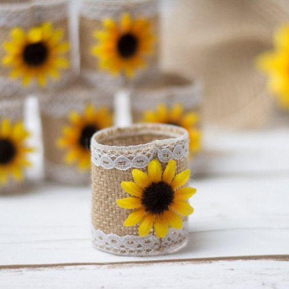 Sonnenblumen Servietten Ringe rustikale Hochzeit Servietten