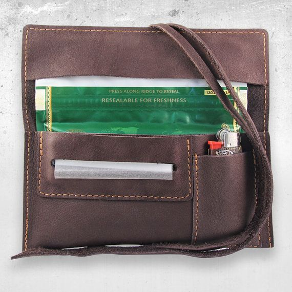 Leather tobacco pouch Brown Velvet with lighter pouch!