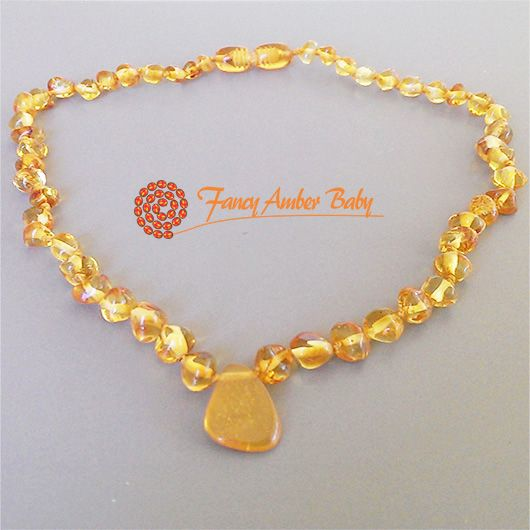 Fancy Amber Baby - Honey Amber Pendant Necklace