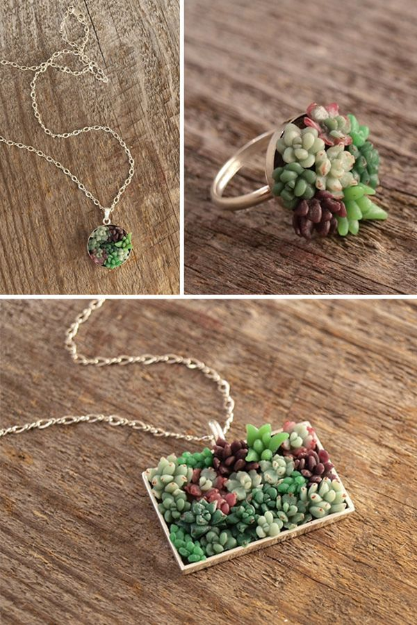 amazing tiny succulent garden jewelry. @Erica Barto oh lord! they have a whole jewelry line of tiny gardens!