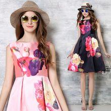 2016 Европейский летний vetement femme лолита платье ретро печати цветочные платья от кутюр вечернее платье одеяние sexy свадебные платья(China (Mainland))