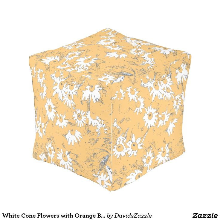 White Cone Flowers with Orange Background Cube Pouf Available on more products, type in the name of this design in the search bar on my products page to view them all!  #daisy #cone #shasta #calendula #floral #flower #orange #gray #grey #blue #pattern #print #all #over #abstract #plant #nature #earth #life #style #lifestyle #chic #modern #contemporary #throw #pillow #home #decor