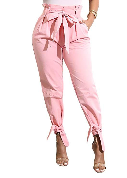 4bcfd3f4ed29 Casual Loose High Waist Long Pencil Pants with Bow Tie Belt Casual ...