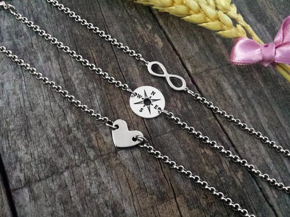 Infinite Compass Heart Silver Bracelets Stainless by DreamcJewelry