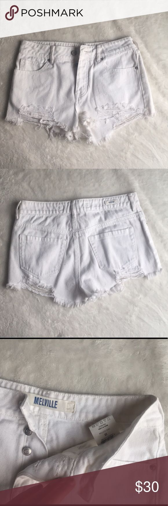 Brandy Melville High Waist White Distressed Shorts Brandy Melville distressed white high waist shorts. Only worn once, no stains. Size 28 but personally I think they fit smaller. Brandy Melville Shorts Jean Shorts