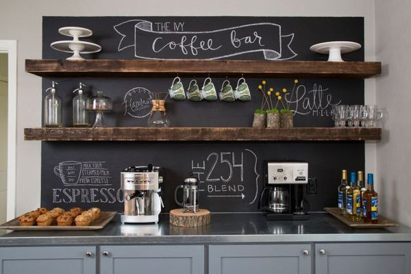 Mantel wall for display - several shelves with chalkboard paint behind - holiday sayings - JOY, MERRY & BRIGHT