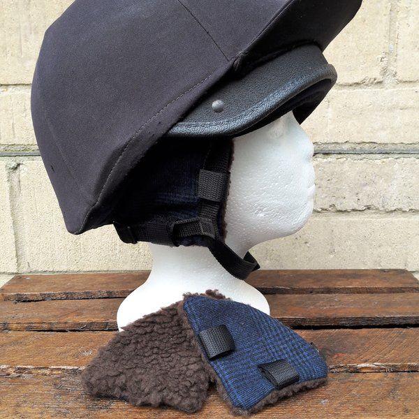 Riding hat ear warmers tweed navy black glen check with brown sherpa fleece 1ba1533bbc7d